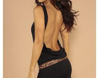 Black sleeveless classic backless dress