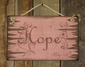 Hope, 1 Peter 1, 3, Pink, Antiqued, Verse Sign