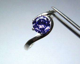 CLEARANCE Rich Purple CZ Round in Sterling Silver Ring