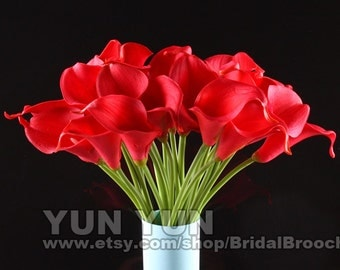 Calla Lily Bouquet 20pcs latex Real Touch Flowers Bridal Bouquet red with Scent  the same as real flower for Wedding DIY KC54