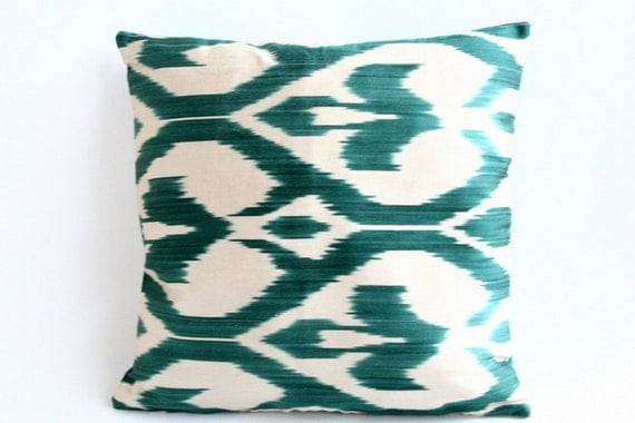 Emerald  Silk Real Ikat Square Pillow Cover -free shipping