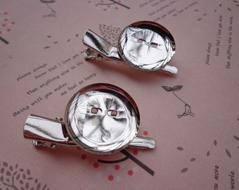 SALE--50 pcs 20mm White K Plated/Nickel free Brooch Back Base With Clip and Safety Pin