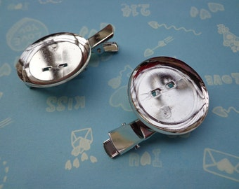 SALE--20 pcs 35 mm White K Plated/Nickel free Brooch Back Base With Clip and Safety Pin