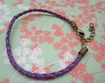 SALE--20 pcs 3mm 7 -9 inch adjustable purple  faux braided leather bracelet with bronze fitting