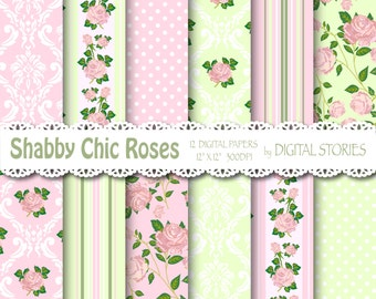 "Shabby Chic Digital Paper: ""SHABBY PINK GREEN"" Floral background with roses for scrapbooking, invites, cards"