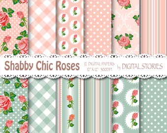 "Shabby Chic Digital Paper: ""SHABBY PINK GRAY"" Floral background with roses for scrapbooking, invites, cards"