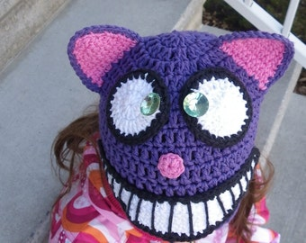Crochet Beanie Pattern, Animal Crochet Hat,Cheshire Cat Hat, Halloween Crochet Hat, Alice,Wonderland, Cat Hat, fall, winter, children, girl