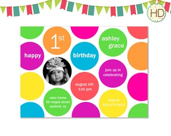 First Birthday Invitation, Polka Dot Invitation, Polka Dot First Birthday Invitation, Polka Dot Party, First Birthday Photo Invitation