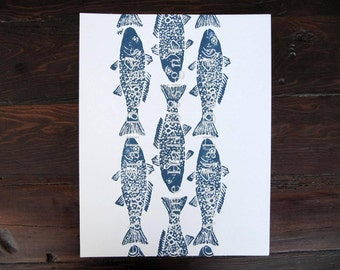 SCHOOL OF FISH Hand-Printed (11 x 14 inches)