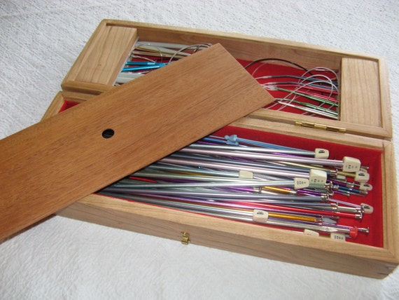 How To Store Knitting Needles : Oversized wood knitting needle storage box for straight and