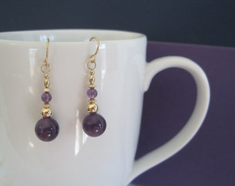 Amethyst Dangle earrings with Gold Filled Beads