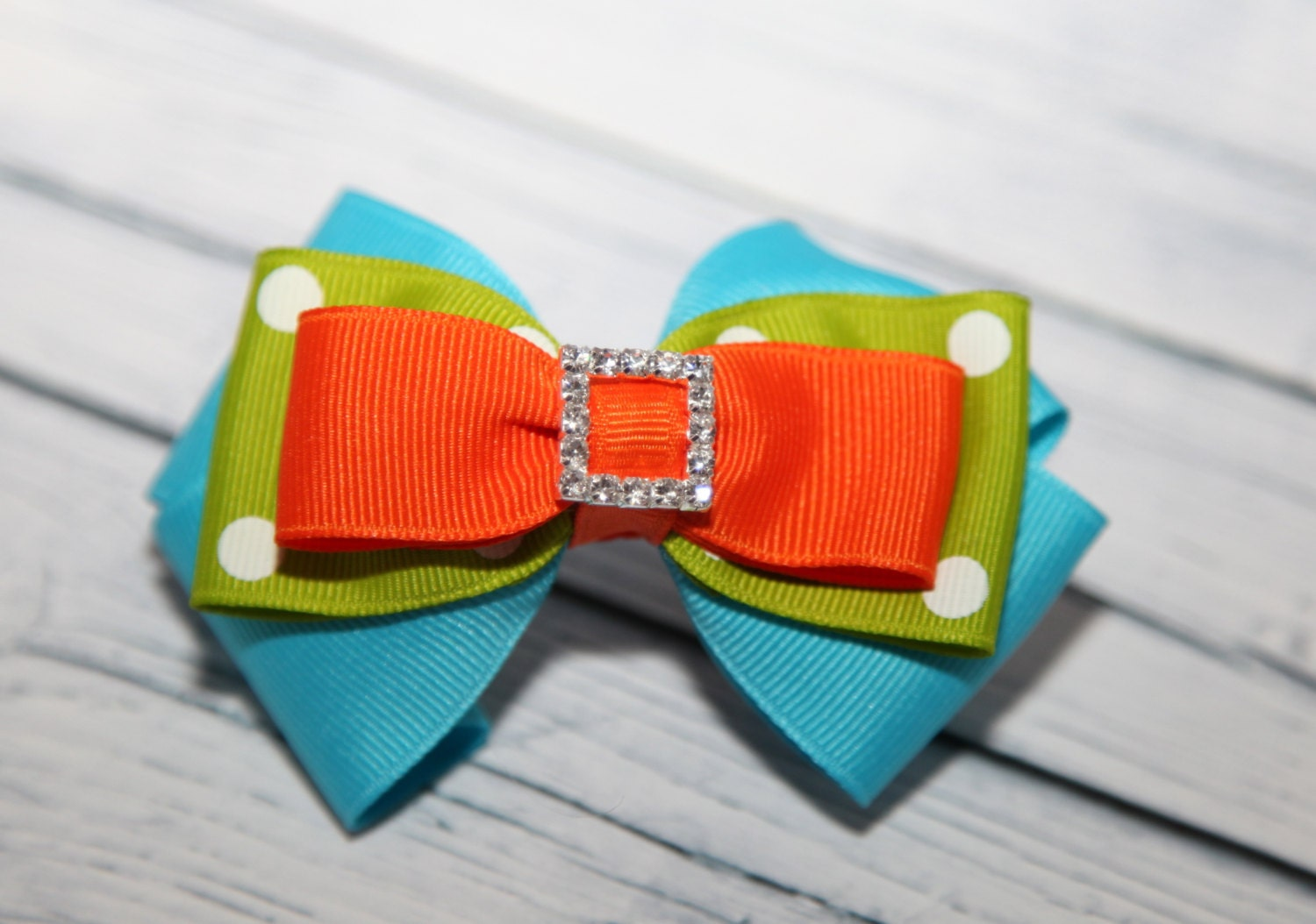 Turquoise Orange And Lime Green Hair Bow By Edelweissbowtique