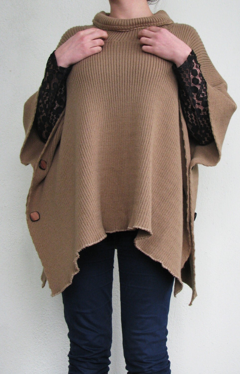 Knitting Pattern Side Button Poncho : Ultra Comfortable Warm Knitted Poncho with side Buttons & Nara