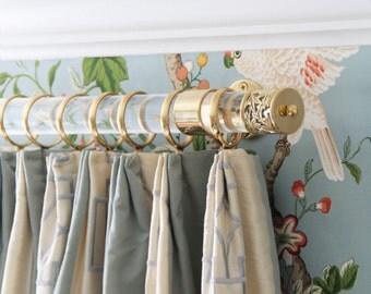 Custom Lucite Curtain Rod w/ Polished Brass Brackets & Lattice Finials