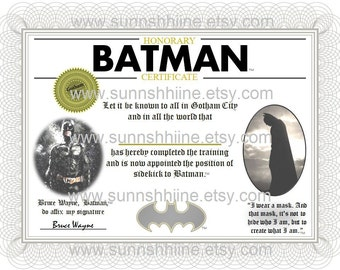 Batman Sidekick Certificate (Party Favor, Superhero, Comics, Gotham City, Gag Gift, Stocking Stuffer)