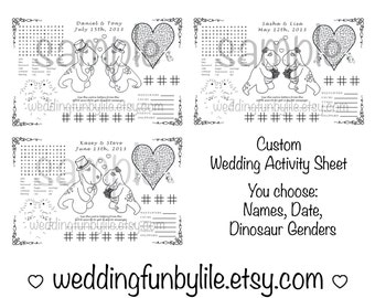 Printable Kids Wedding Activity Page PDF. Customized Favor, Placemat. Your Names and Date. You Choose Wedding Couple's Genders.