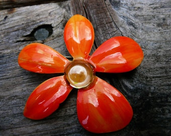 Retro 1960's Orange Flower Pin