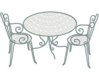 Machine Embroidery  garden metal table and chair set antique  download French touch