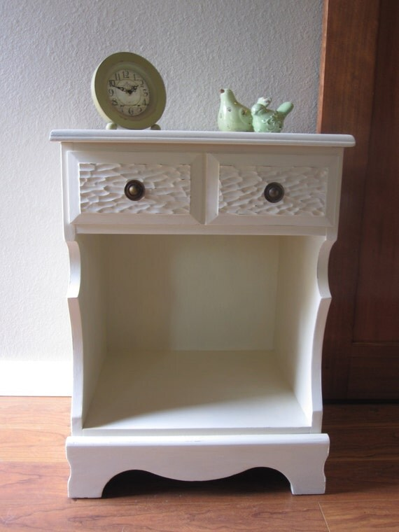 shabby chic vintage side table or nightstand by. Black Bedroom Furniture Sets. Home Design Ideas