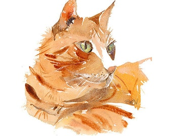 Ginger Cat MOUNTED Giclee Print from Watercolour