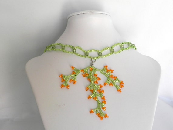 Green and Orange Beaded Statement Necklace with Tree Branch Pendant