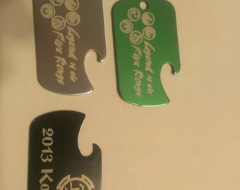 """Dog Tag with Bottle Opener, One or Two Sides Engraved, with 32"""" chain"""