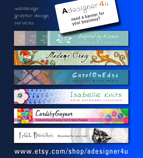 Custom banner design - Top banner design for Etsy - custom creation branding marketing exclusive design made to order