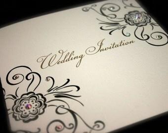 Roses Wedding Invitation With Swarovski Rocks