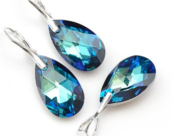 Bermuda Blue Earrings and Pendant Swarovski Crystal Drop Earrings Sterling Silver Jewelry Set