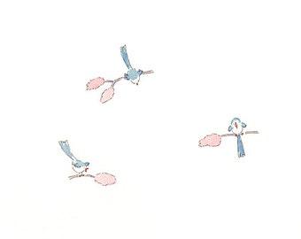 "Children's or Adult's Art  Print  of  Birds singing.  -""It's morning"" -"