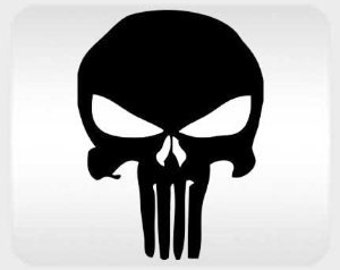 "Punisher Skull Anime Cartoon 5.5"" Vinyl Decal Widow Sticker for Car, Truck, Motorcycle, Laptop, Ipad, Window, Wall, ETC"