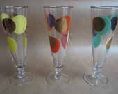 Three rare colourful tall 'Eclipse' glasses designed by Russel Wright for Bartlett-Collins