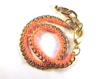 Gold Chain Bracelet with Neon Orange Double Wrap-up Bracelet