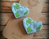 Set of 2  Earth Heart just in time for Earth Day Hair Clip Felties