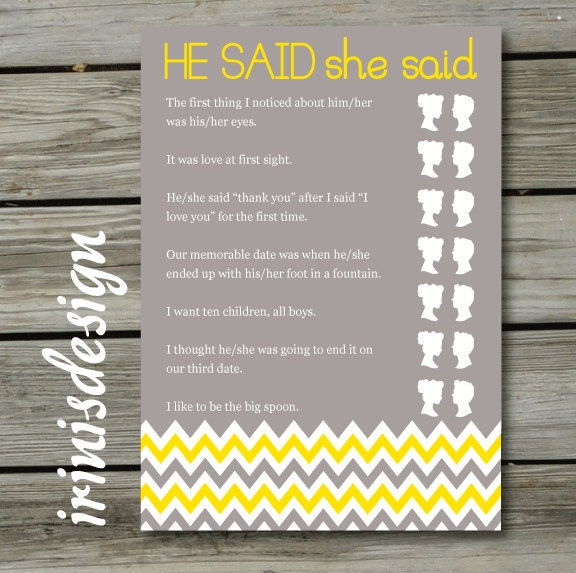 Bridal shower game he said she said printable print at for He said she said bridal shower game template
