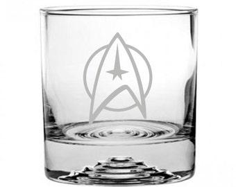Star Trek Star Fleet Command Emblem Etched Rocks Glass Personalized