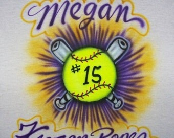 Airbrushed Fastpitch Softball t shirt new Adult and Youth sizes personalized
