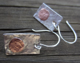 Mixed Metal Earrings, Mixed Metal Jewelry, Hammered Silver Earrings with Copper Circles