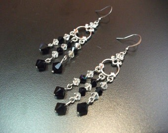Black and clear chandelier crystal earrings