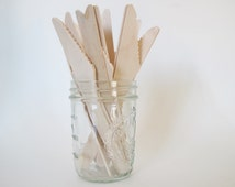 Wooden Knives-50 Disposable Wooden Knives-Wooden Utensils-Wood Tableware-Dinner Knives-Mason Jar Knife-Wood Silverware-Wedding Wooden Knives