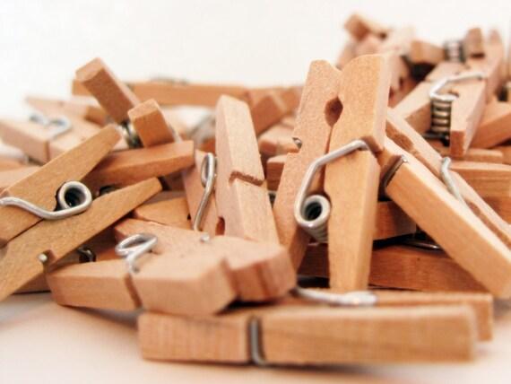 100 Mini Clothespins - all natural wood