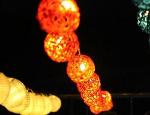 Orange Rattan Wicker Cane Wood Fairy Lights Orange 110-220V