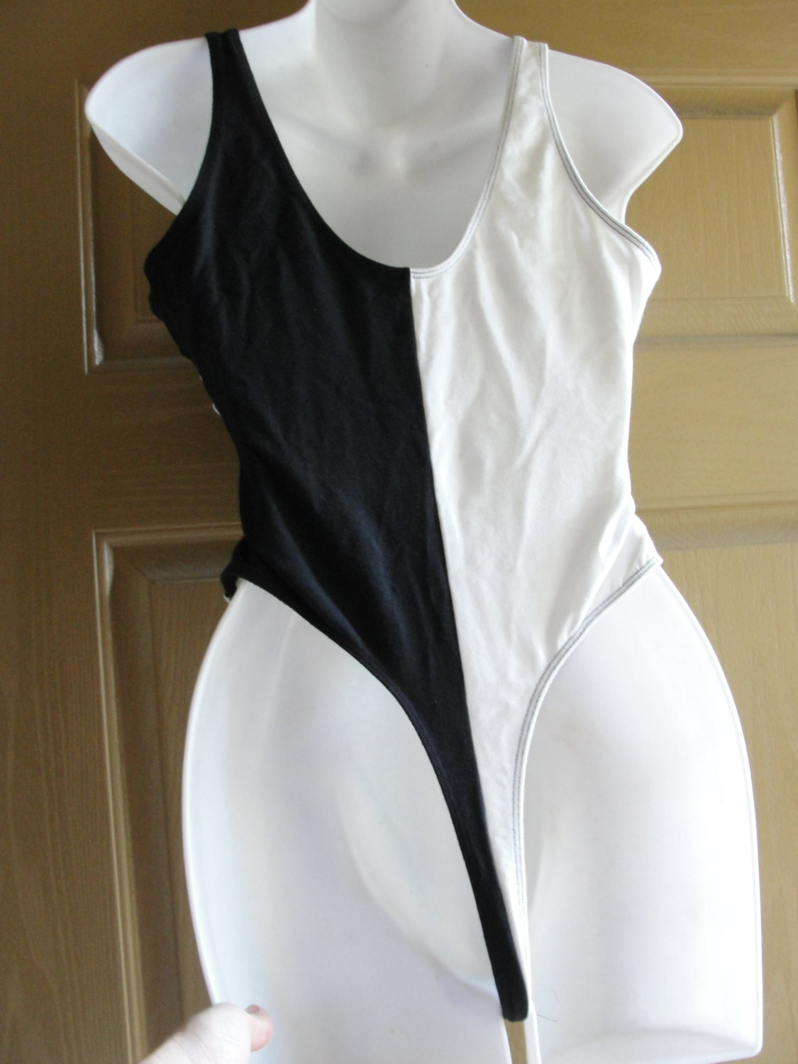 Vintage Black And White Thong Leotard 80s By