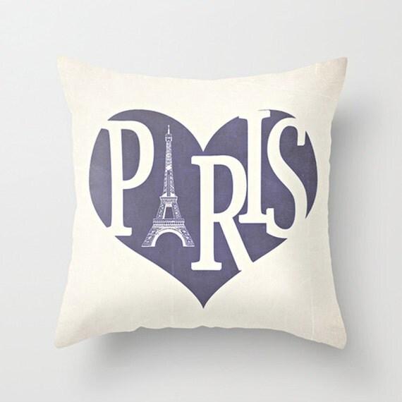 Paris Eiffel Tower Pillow 16 X 16: Paris Pillow Cover Purple Pillow Eiffel Tower Pillow Heart