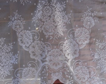 Two LACE VALANCES with Lovely Cottage Roses