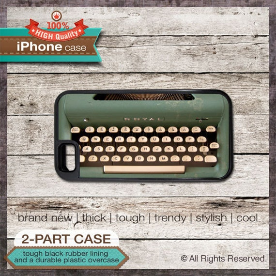 iPhone 4 or iPhone 5 or Samsung Galaxy Case Vintage Green Typewriter