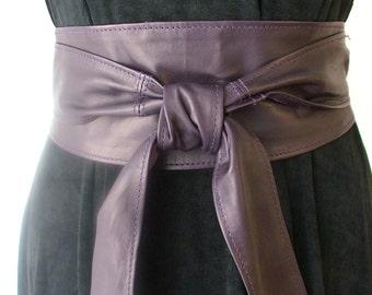 Aubergine eggplant dark purple Spanish real leather obi belts sash belts corset tie belts wraps super soft handmade 2017 trends
