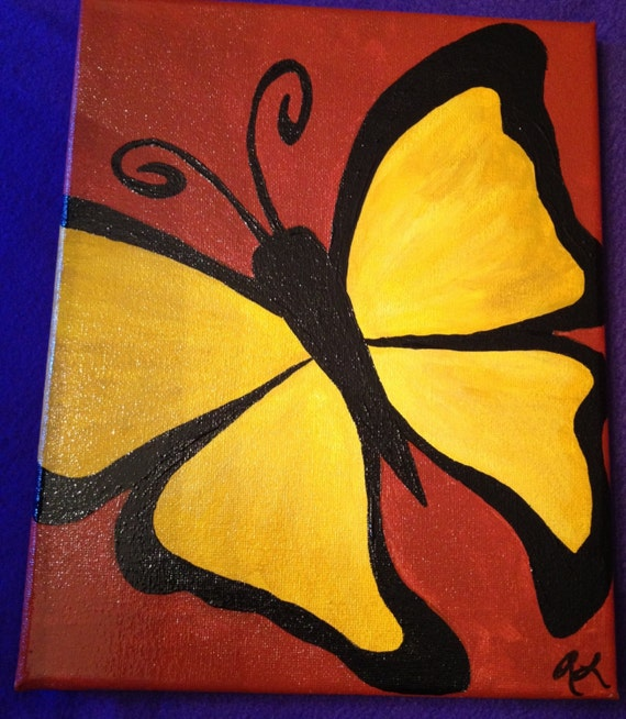 Items similar to Yellow butterfly acrylic painting on 8x10 ... Very Simple Canvas Paintings