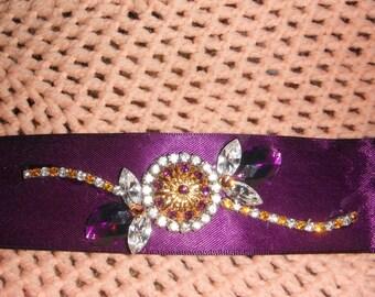 Purple rhinestone ribbon bracelet