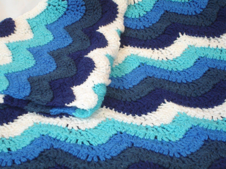 Small Ocean waves crochet blanket in beautiful blues